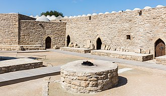 Fire temple - Eternal flame at Fire Temple of Baku also known as Ateshgah of Baku.