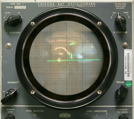 Tennis for Two, an early analog computer game that used an oscilloscope for a display Tennis For Two on a DuMont Lab Oscilloscope Type 304-A.jpg