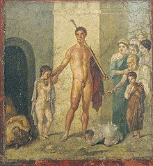 Ancient Roman fresco of Theseus from the house of Rufus Gavius​​, Pompeii.