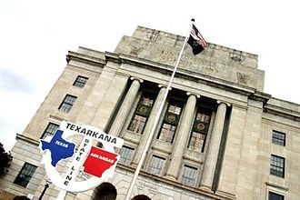 Texarkana, Arkansas - Texarkana federal building, including the post office and courthouse, straddling the Texas-Arkansas state line