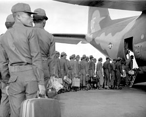 Royal Thai Armed Forces - Thai soldiers boarding a USAF aircraft, during the Vietnam War.