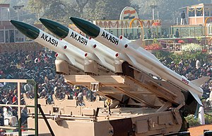 The 'Akash' super sonic cruise missile with a range of 25km, passes through the Rajpath during the 58th Republic Day Parade - 2007, in New Delhi on January 26, 2007.jpg