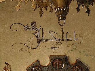 Arnolfini Portrait - Johannes de eyck fuit hic 1434 (Jan van Eyck was here. 1434).