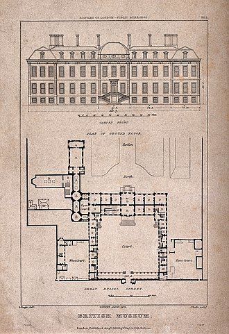 Roffe engraving families of London - Image: The British Museum at Montague House; a layout plan, and ele Wellcome V0013506