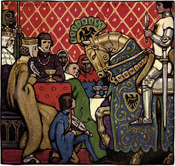 The Canterbury tales of Geoffrey Chaucer - There came a Knight upon a Steed of Brass.jpg