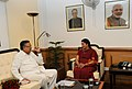 The Chief Minister of Chhattisgarh, Dr. Raman Singh calling on the Union Minister for Human Resource Development, Smt. Smriti Irani, in New Delhi on September 08, 2014.jpg