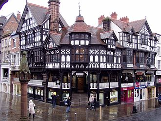 Black-and-white Revival architecture - Lockwood's black-and-white building at Chester Cross