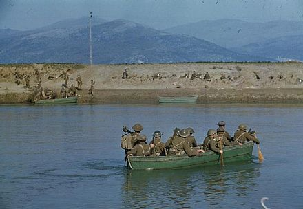 British Royal Engineers of the 46th Infantry Division cross the Garigliano river, 19 January 1944. The Crossing of the Garigliano River by the Fifth Army, Lauro, Italy, 19 January 1944 TR1522.jpg