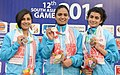 The Gold Medallist of India Sweta Singh, Heena Sidhu and Yashaswini Singh Deswal in the 10m Air Pistol Women's Individual event in Shooting, at the 12th South Asian Games-2016, in Guwahati on February 15, 2016.jpg