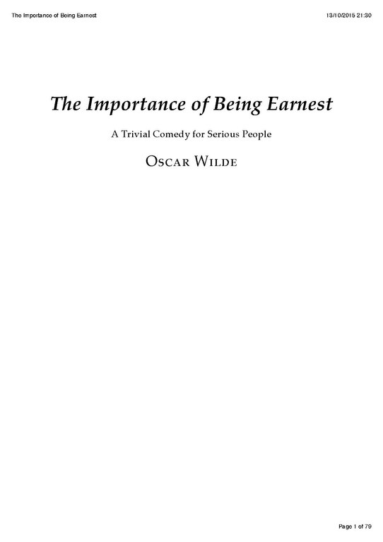 Importance being earnest research paper