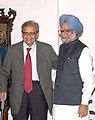 The Prime Minister, Dr. Manmohan Singh with Prof. Amartya Sen at a meeting with the members of Nalanda Mentor Group, in New Delhi on August 13, 2008.jpg