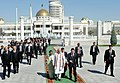 The Prime Minister, Shri Narendra Modi being welcomed by the President of Turkmenistan, Mr. Gurbanguly Berdimuhamedov, at Independence Square, in Oguzkhan Palace, Ashgabat, Turkmenistan on July 11, 2015 (1).jpg
