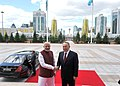 The Prime Minister, Shri Narendra Modi with the President of the Republic of Kazakhstan, Mr. Nursultan Nazarbayev after the official lunch, at Akorda President's Palace, in Astana, Kazakhstan on July 08, 2015.jpg