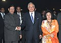 The Prime Minister of Malaysia, Dato' Sri Mohd Najib Tun Abdul Razak and his wife Datin Sri Rosmah Mansor being received by the Minister of State of Railways, Shri E. Ahamed, in New Delhi on January 19, 2010.jpg