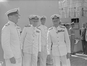 John Cunningham (Royal Navy officer) - Cunningham (centre) with Rear Admiral Gerard Mansfield (left) and King George VI (right)