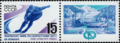 The Soviet Union 1988 CPA 5923 stamp with label (1988 World Allround Speed Skating Championships for Men. Skater. Emblem. Alma-Ata ice rink, Medeo).png