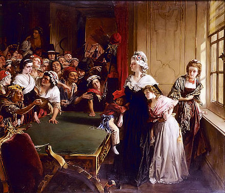 Marie Antoinette with her children and Madame Elisabeth, facing the mob that had broken into the Tuileries Palace on 20 June 1792, (Musee de la Revolution francaise) The Tuilleries, 20th June 1792.jpg