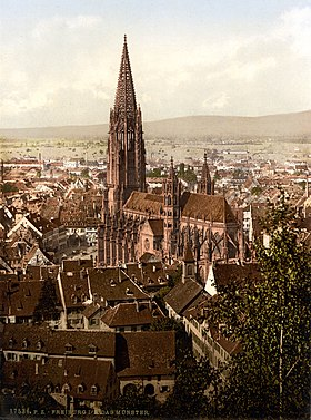The cathedral, Freiburg, Baden, Germany, ca. 1895.jpg