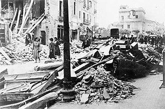Destrucció després del bombardeig