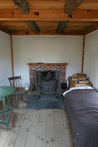The interior of Thoreaus original cabin replica, Walden Pond