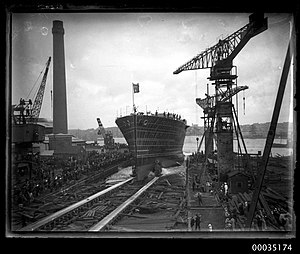 HMAS Albatross (1928) - The launch of Albatross in 1926