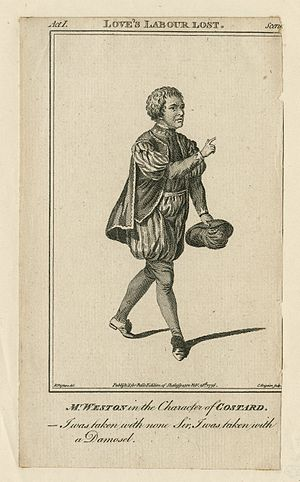 Costard - A 1776 print by Charles Grignion of Thomas Weston playing Costard. Originally published in Bell's edition of Shakespeare.
