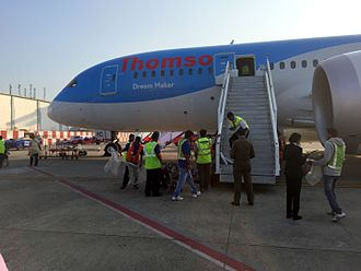 Goa International Airport - A Thomson Airways Boeing 787-8 having arrived from London–Gatwick