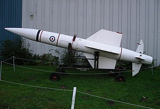 A Thunderbird I missile minus finned-boosters, a museum exhibit at the Midland Air Museum, England. Thunderbird ground to air missile 22n07.JPG