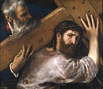 Titian, Christ Carrying the Cross. Oil on canvas, 67 x 77 cm, c. 1565. Madrid, Museo Nacional del Prado.jpg