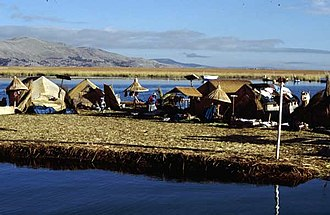 Titicaca National Reserve - the Uros floating islands on Lake Titicaca, Puno