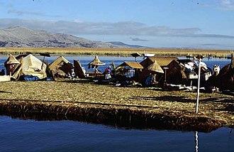 Floating island - Uros island in Lake Titicaca