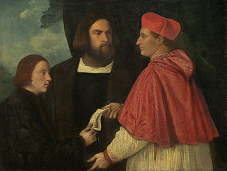 Simony - Girolamo and cardinal Marco Corner investing Marco, abbot of Carrara, with his benefice, Titian, ca 1520