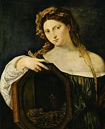 Vanitas with her mirror. Painting by Titian, c. 1515