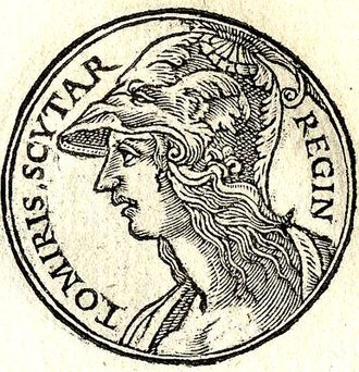 Women in ancient warfare - Tomyris from Promptuarii Iconum Insigniorum