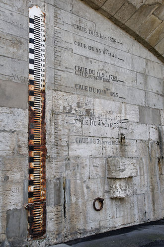 Units of measurement in France before the French Revolution - Flood levels at the pont Wilson at Tours in both metres and pied royal