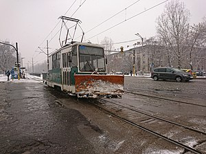 Snowplow tram in Sofia, BG