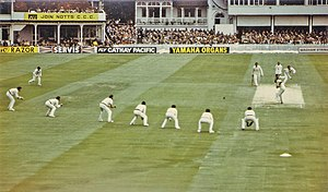 David Gower - Gower batting for England in a Test match at Trent Bridge in 1981. Terry Alderman is bowling, with Ian Botham at the other end. There are four slips and two gulleys fielding to the left of Rod Marsh. Despite one score of 89 during the series, Gower failed to consistently perform, and thus the Australian team have set this very attacking field.