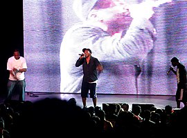 A Tribe Called Quest perform in 2009. (Left to right: Jarobi White, Q-Tip, Phife Dawg)