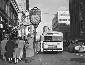 Trolleybuses in Seattle - Twin Coach trolleybus operating in Downtown Seattle on route 2 to West Queen Anne in 1953