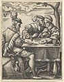 Two men and a woman playing cards at a table, one man pressing his nose toward the woman's forehead, from a series of ten scenes of musicians and couples dancing, drinking, playing music, and playing cards MET DP828546.jpg