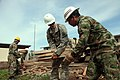 U.S. Army Pfc. Cody Harlan, center, with the 829th Engineer Company, Wisconsin Army National Guard; Colombian professional soldier Tomas Vidal Vargas, right; and Salvadoran soldier Manuel Lopez remove lumber 130603-A-MR246-361.jpg