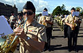 U.S. Navy Musician Seaman Alexis Thompson, left, plays the French horn with the U.S. Naval Forces Europe Band during a rehearsal for the Royal Edinburgh Military Tattoo in Edinburgh, Scotland, July 31, 2012 120731-N-VT117-1014.jpg