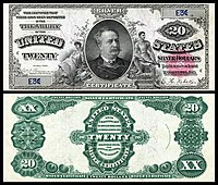$20 Silver Certificate, Series 1891, Fr.317, depicting Daniel Manning