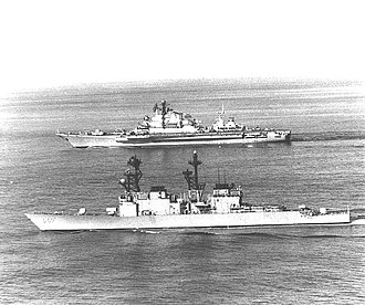 USS Elliot (DD-967) - Elliot (foreground) conducting surveillance operations against the Soviet carrier Minsk