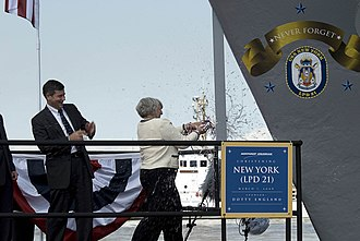 USS New York (LPD-21) - Image: USS New York christening