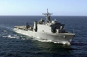 USS Tortuga (LSD-46) off the coast of the Caribbean island Curacao, 2001.