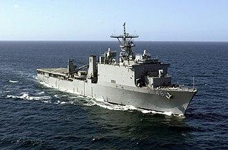USS Tortuga (LSD-46) - USS Tortuga (LSD-46) in February 2001, off the coast of the Caribbean island of Curacao.