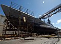 US Navy 041005-N-3019M-004 Marisco Ltd. workers repair the aging hull of the decommissioned Balao-class submarine USS Bowfin (SS 287).jpg