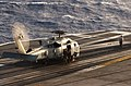 US Navy 060112-N-5549O-103 An SH-60F Seahawk helicopter prepares to lift off the flight deck aboard the Nimitz-class aircraft carrier USS Ronald Reagan (CVN 76).jpg