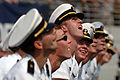 US Navy 060909-N-9693M-006 U.S. Naval Academy Midshipmen watch as a point after kick sails through the uprights during the 1st quarter of play at Navy-Marine Corps Memorial Stadium.jpg